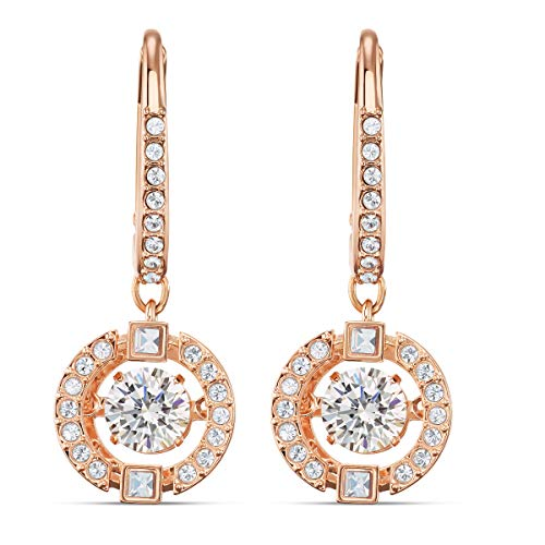 Swarovski Women's Sparkling Dance Earrings, Pair of Pierced Earrings with White Swarovski Crystals, Rose-Gold Tone Plated