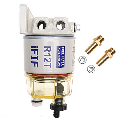 iFJF R12T Fuel Filter/Water Separator 120AT NPT ZG1/4-19 Automotive Parts with Fitting -Complete Combo Filter Diesel Engine(Includes 2 fittings,2 plugs)