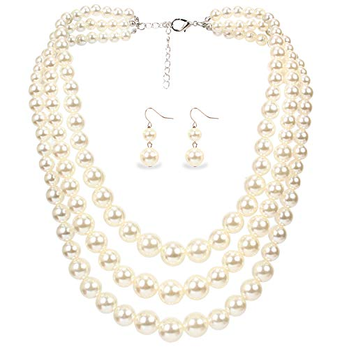 2 Pcs 1920s Gatsby Pearl Necklace Vintage Bridal Pearl Necklace Earrings Jewelry Set Multilayer Imitation Pearl Necklace with Brooch