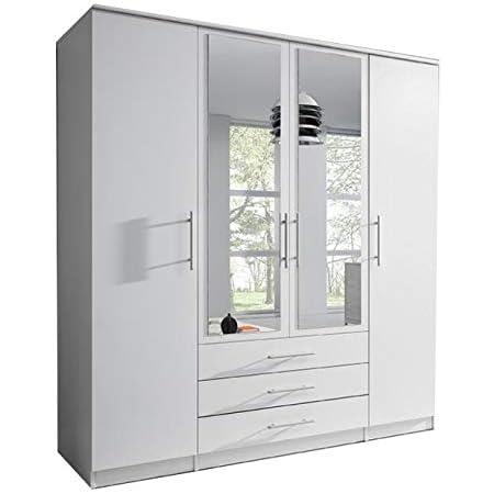 E-MEUBLES Armoire de Chambre avec 4 Portes pivotantes et 3 tiroirs | Penderie (tringles) avec étagères (LxHxP): 200x210x64 Ruth 4D (Blanc)