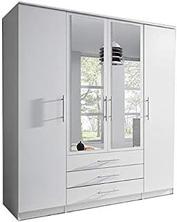 E-MEUBLES Armoire de Chambre avec 4 Portes pivotantes et 3 tiroirs | Penderie (tringles) avec étagères (LxHxP): 200x210x64...