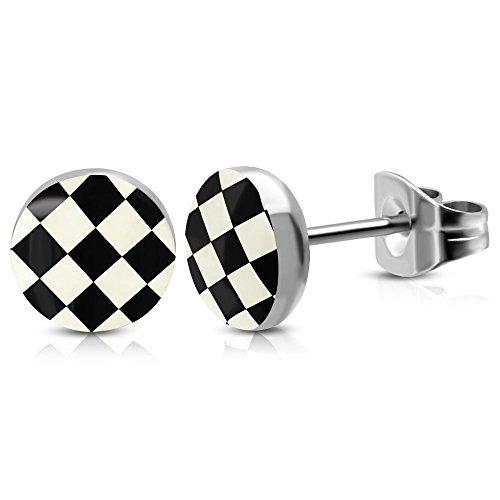 Bungsa Schachbrett schwarz-weiß Ohrstecker silber 6mm - 1 Paar Edelstahl (Ohrringe Ohrschmuck Checker Grid Ohrklemmen Damen Frauen Herren Mode Studs Earrings)