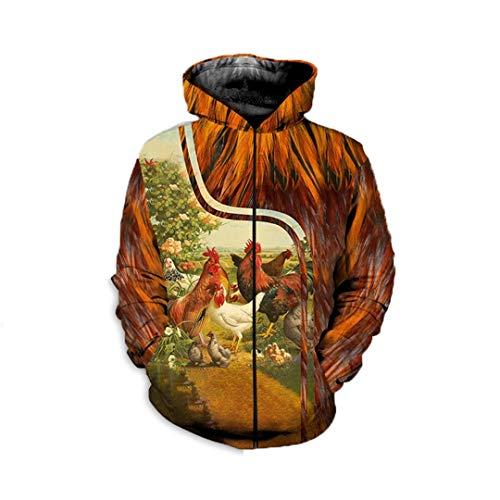 Herren Hoodie Chicken Racing 3D Gedruckt Reißverschluss Hoodie Langarm Sweatshirt Jacke Pullover Gr. XL, Schwarz