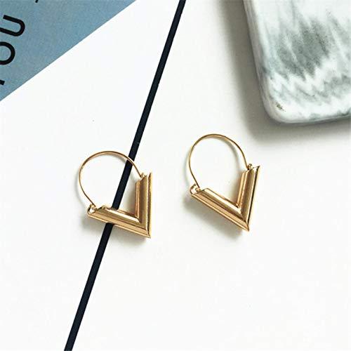 mengnuo Pendientes Pendientes Triangulares Pendientes Geometría Delicada Adorne Artículo Joyas Aleación de Metal Simple Moda-Color Oro Amarillo Claro