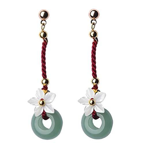 ifundom 1 par de Pendientes de Flores Pendientes de Aro de Jade Chino Pendientes Colgantes Pendientes de Piedras Preciosas Naturales