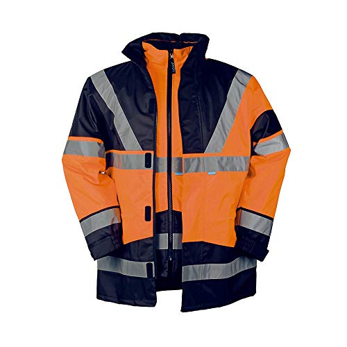 Sioen Herren Skollfield Jacke, Mehrfarbig (highviz orange/Navy), L(uk)