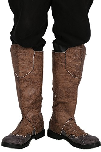 Mens Knee High Boots With Zipper Closure Brown PU Shoes Cosplay Costume Carnival Fancy Dress For Adult 44