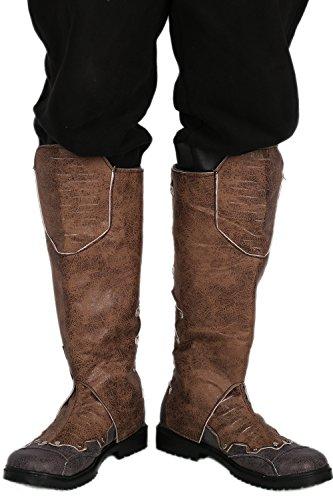 Herren Knie Hoch Stiefel Boots Brown PU Schuhe Cosplay Kostüm Karneval Verrücktes Kleid Für Erwachsene 45