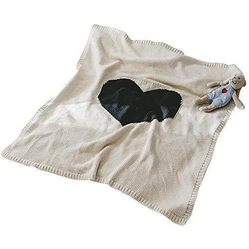 Manta De Punto Para Bebé, 80 × 105 Cm Algodón Love Newborn Crochet Edredón, Cobertor Swaddle Wrap Cubierta De Cochecito Manta De Lactancia, Cumpleaños De Cochecito Para Niños Y Niñas (Blanco)