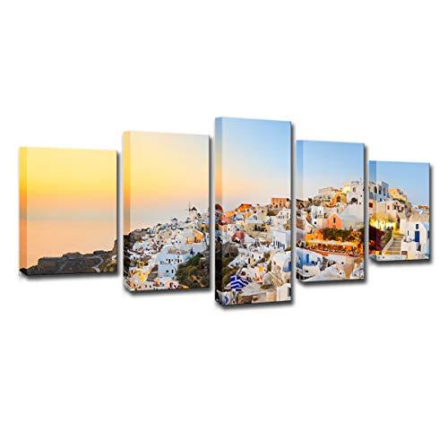 Cuadros Modernos Impresión de - Santorini, Grecia - Impresión de 5 Piezas Material Tejido no Tejido Impresión Artística Imagen Gráfica Decoracion de Pared Arte - 200x100cm