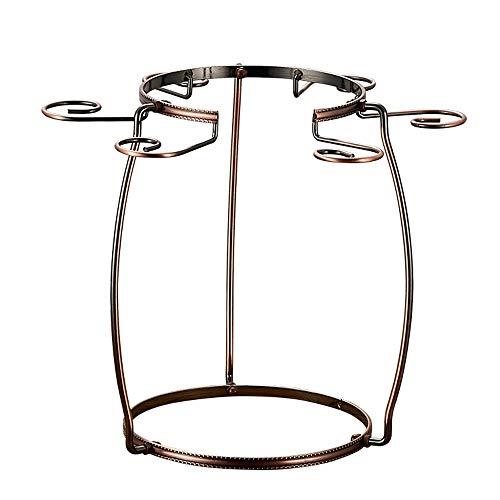 YIJIAHUI Weinglas Rack Vase Form 6 Haken Bronze Chrom Eisen Weinglas Halter Stemware Wäscheständer Wein Dekanter Wäscheständer für Hausbar Für Küche Bar Pub (Color : Bronze, Size : 29.5 * 25CM)
