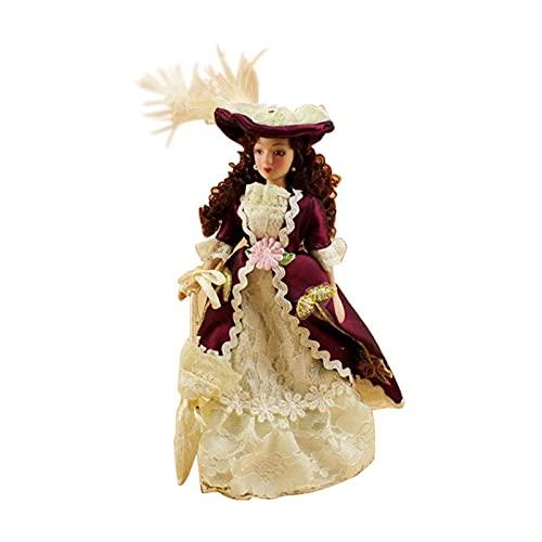 YiXing 1:12 Miniatura Señora Mini Muñecas Decoración de Casa de Muñecas Accesorios Decoración de Juguete (Color: E)