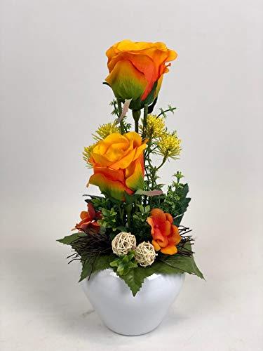 Ziegler Blumengesteck Rosengesteck Gesteck künstlich Kunstblumen Kunst Blume Dekoblume Seidenblume unecht Tischgesteck Tischdeko Rosen Rose orange 115 F71