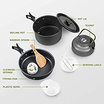 10 Pcs Cookware Casseroles Camping Poêlé en Aluminium Kit de Cuisine avec Assiette Bol Ustensiles de Cuisine pour en Camping Pique-Nique Randonnée BBQ Certifié FDA