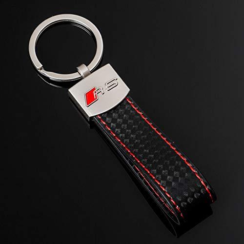 Mynew - Portachiavi in pelle PU con logo RS per uomo e donna, adatto per Audi A1 A3 A4 A5 A6 A7 A8 Q5 Q7 R8 S5 S7 Q5 RS (RS)