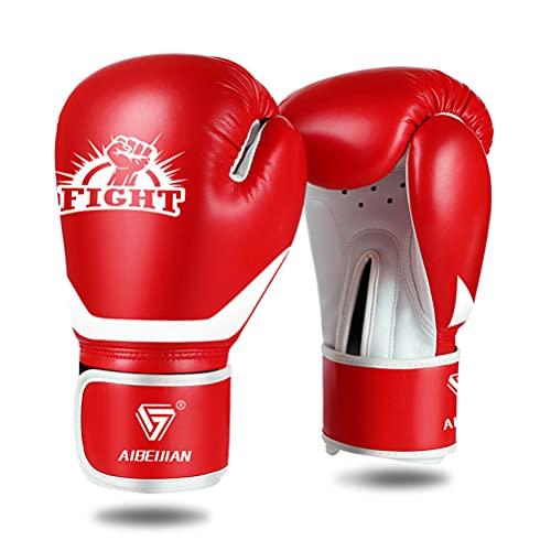 ZBXZM Guantes de Boxeo, Kickboxing Muay Bolsa de perforación tailandesa MMA Pro Grade Sparring Entrenamiento Fight Guantes para Hombres Mujeres,Rojo,10oz