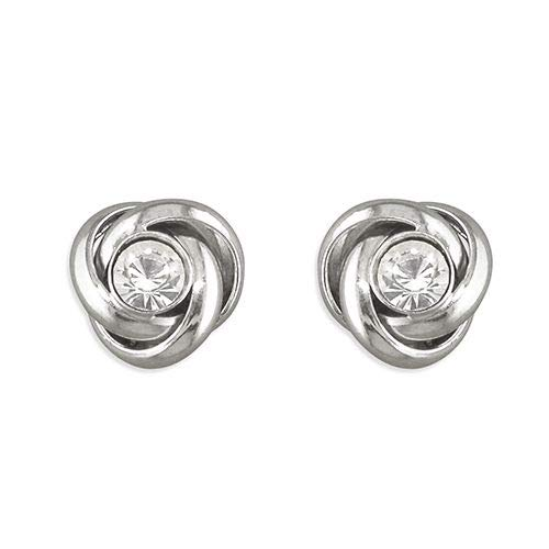 Genuine Sterling Silver Earring Large Swarowski Crystal-Set Knot Stud Brand New