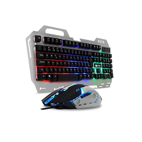 TECLADO E MOUSE GAMER COM ILUMINACAO LED RGB- KP-2054 -CINZA