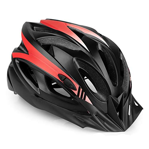 RNOX Adult Bike Helmet, Bicycle Cycle Helmet for Adults Men/Women, Adjustable Size Road Cycling Bicycle Helmet with Detachable Visor/Led Rear Light - Black Red