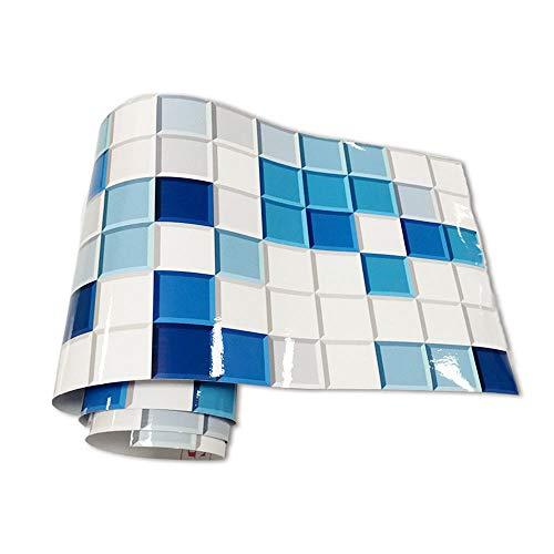 JMSHTU Pegatinas para azulejos cocina baño frontera autoadhesivo azul mosaico DIY pared despegable decoración impermeable
