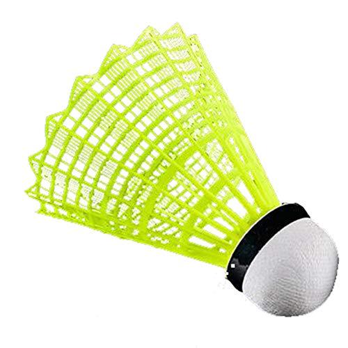 manda Stell Federbälle aus Kunststoff für Badminton-Badminton-Federbälle, 12 Stück, langlebig – schnell – Kunststofffedern brechen nicht, 0, gelb