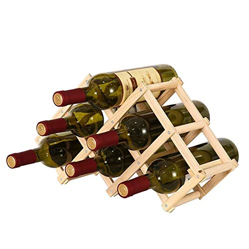 CHFQ Estante de Madera para Vino Soporte para Vino Independiente Soporte para Vino Plegable Soporte para Botella Almacenamiento de Botellas de Vino Almacenamiento de Vino para Bodega (Puede conten