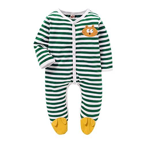 Mono de manga larga para recién nacido, diseño de rayas, con estampado de puntos, verde, 1 mes