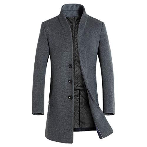 FNKDOR Manteau Homme Slim Couleur Unie Trench Coat Occasionnel Veste de Bouton en Laine Artificielle(A Gris,XL=FR(48))