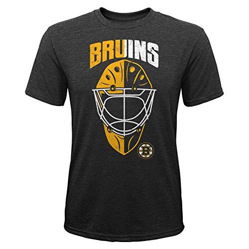 OuterStuff NHL Kinder T-Shirt Boston Bruins Youth Mask Made Goalie Torwart Eishockey (M (10/12))