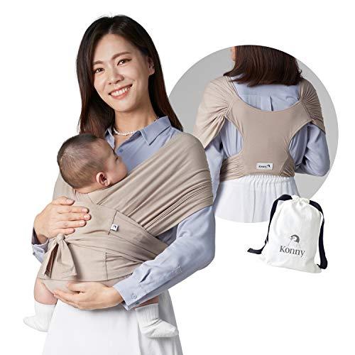 Konny Babytrage | Ultraleichter, stressfreier Tragetuch | Neugeborene, Kleinkinder bis 20kg Kleinkinder | Weicher und atmungsaktiver Stoff | Vernünftige Schlaflösung (Beige, Large)