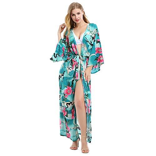 Tyidalin - Poncho de playa para mujer Kaftan, talla grande, pareo, estampado de flores, kimono # 2 Kaftan. Talla única