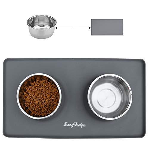 Ciotola per Cani Gatti in Acciaio Inox con Tappetino Silicone Antiscivolo, Ciotole Doppia per Cane Gatto Grandi o piccoli (L, 24oz Ciotola)