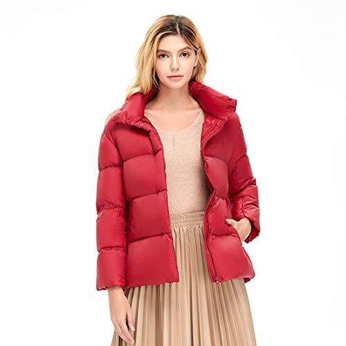 XWEM Damen Daunenjacke, dünne und leichte Frauen leichte Gewicht Jacken Herbst und Winterfrauen Kurze Wintermäntel Mode Ente Daunenjacke,Rot,XL