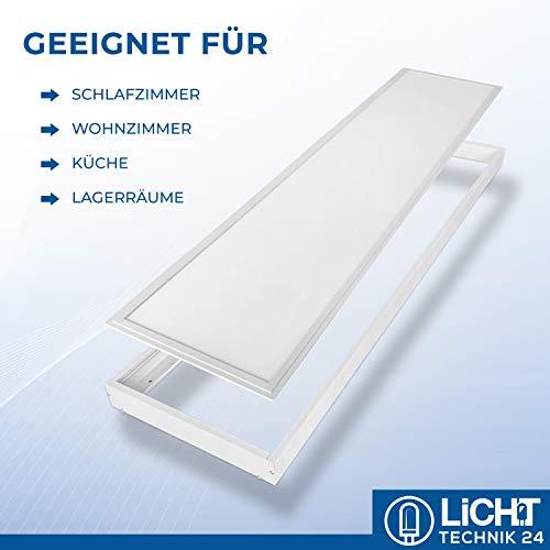 LED Panel Rahmen 120x30cm, weiß, LED Büroleuchte, Pendelleuchte, flache LED Deckenleuchte, Wohnzimmer-Lampe (Aufbaurahmen)