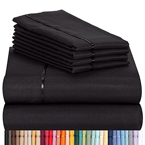 LuxClub 6 PC Sheet Set Bamboo Sheets Deep Pockets 18' Eco Friendly Wrinkle Free Sheets Machine Washable Hotel Bedding Silky Soft - Black Queen