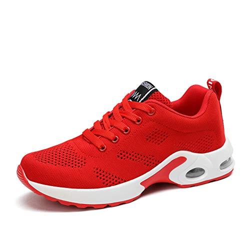 ASMCY Ligero Mujer Zapatillas de Deporte, Respirable Al Aire Libre Zapatos para Correr con Colchón de Aire, Casual Zapatillas para Caminando Gimnasio Trotar Fitness Atlético,Rojo,EU36