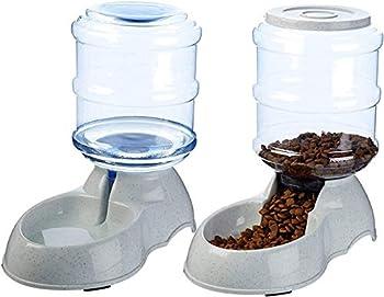 XIAPIA Distributeur de Nourriture/Eau Fontaine Automatique-3.75Lx 2 Pièces- Alimentation pour Chien/Chat/Mangeoirs et Abreuvoirs Accesoires Gamelle Animaux Domestiques BPA Free