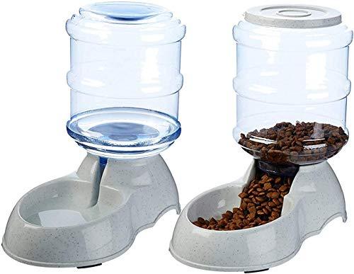 XIAPIA Dispensador de Agua Automático para Mascotas, Comedero Automático para Gatos y Perros, Preservador de Alimentos y Agua, 3.75L x 2 Piezas