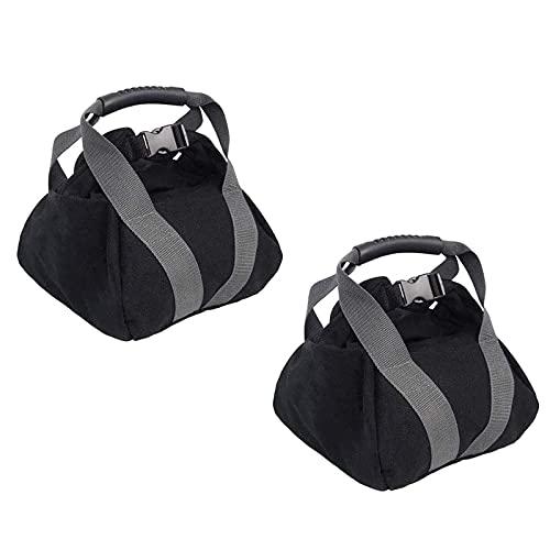 2Pcs PowerBag Verstellbare Gewichtete SandsäCke Fitness Gewichtheben Boxsack Mit Griffen ReißVerschluss Für Heimtraining Yoga,Training (Sand Nicht Inbegriffen) Maximale Belastung 45Lbs(schwarz)