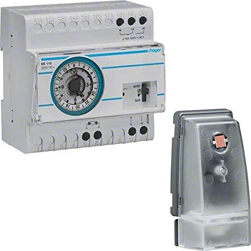 Hager EE110 - Interruptor crepuscular +celula superficie +interruptor horario diario