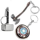 Sio & Tan Captain America Shield Keychain Thor Mjolnir Hammer Keychain Stormberaker Axe Keychain Infinity War Key chain Keyring