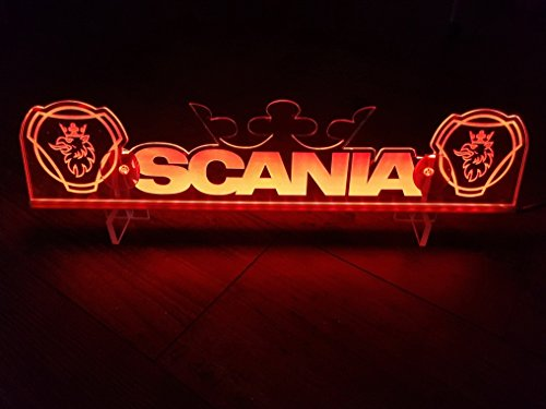 24?V LED Light Neon plaque pour Scania Trucker Camion Rouge Eclairage plaque Table Couronne Cabine D?coration Accessoires grav? au laser 24?V/5?W