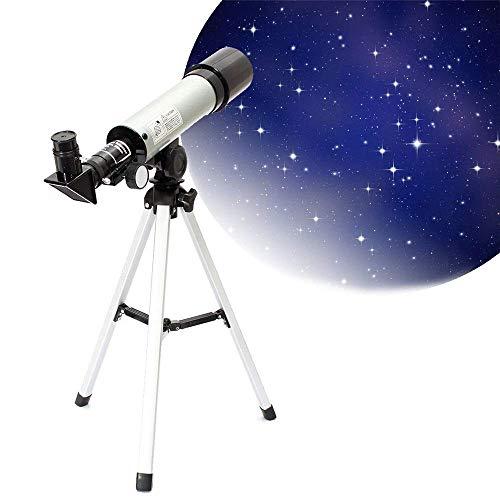 SYWJ Telescopio Digital HD Telescopio para niños Adultos Astronomía Principiantes F360x50 HD Telescopio astronómico refractivo Monocular con Zoom de Gran Aumento Espejo de 90 Grados con trípodes