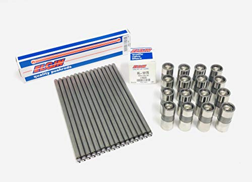 Elgin Industries Valve Lifters & Pushrods compatible with GM Chevy V8 SB 265 307 350 327 305 400 Hydraulic Flat Tappet Cams (Non Roller Cam)