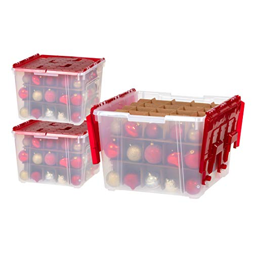 IRIS USA WL-60 Holiday Ornament Storage Box with Dividers, 3 Count, Clear/Red, 3 Count