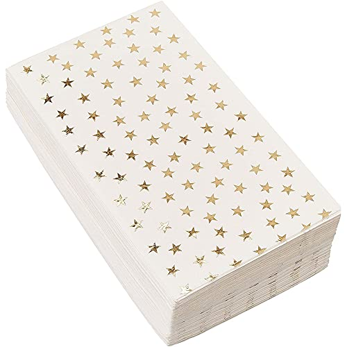 Gold Dinner Napkins - 50-Pack Gold Foil Stars Disposable Paper Napkins, Wedding, Bridal Shower, Birthday Party Supplies, Scattered Stars Print, 1/6 Fold 3-Ply, White, Folded 4 x 8 Inches
