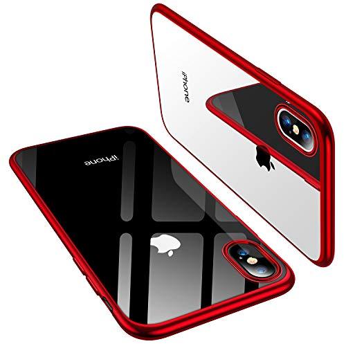 TORRAS Crystal Clear Kompatibel mit iPhone X Hülle [Speziell für iPhone X] Transparent [Anti-Gelb] Dünn Stoßfest Handyhülle iPhone X Case Weiche Silikon Bumper Kratzfest Schutzhülle für iPhone X -Rot