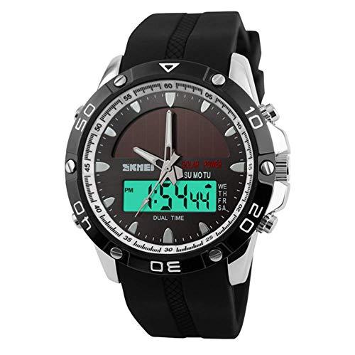 AIfupyi Los Hombres solares electrónicos Reloj Estudiantes Deportes al Aire Libre Impermeable Reloj,C