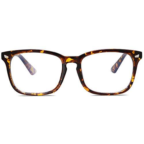 SOJOS Game Brille mit Blaulichtfilter Anti Blaues Licht PC Brille Blueblocker Brille Nerdbrille Unisex Crazy Work SJ5028 (C11 Gelber Schildkröten Rahmen/Anti-Blaulicht Linse)