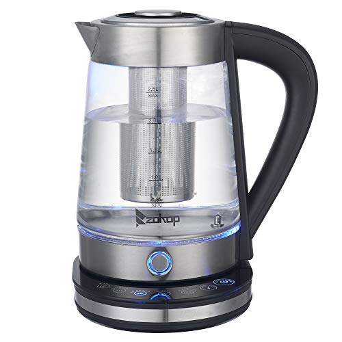 Electric Kettle, Glass Tea Kettle, 1500W Fast Heating Variable Temperature Control Water Boiler, 2.5L Water Heater with LED Indicator Light, Keep Warm, Shut-Off & Boil-Dry Protection